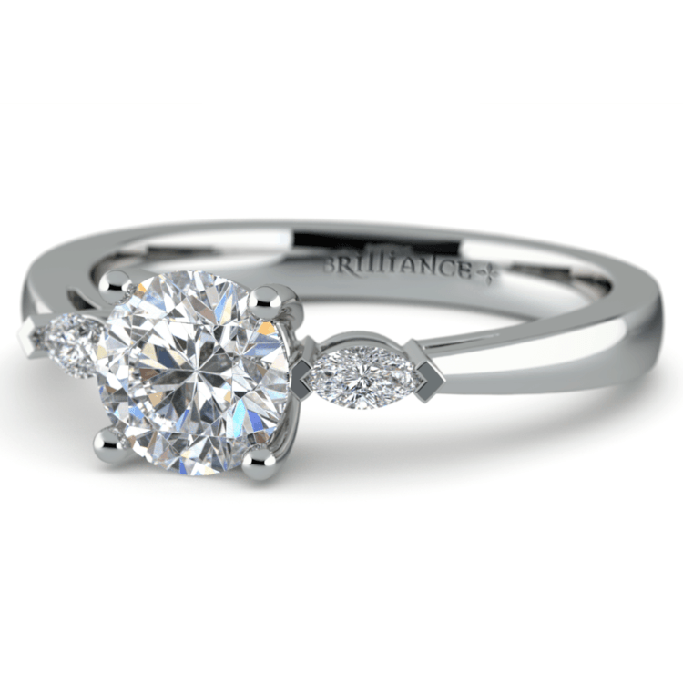 Marquise Diamond Engagement Ring in White Gold (1/4 ctw) | 04