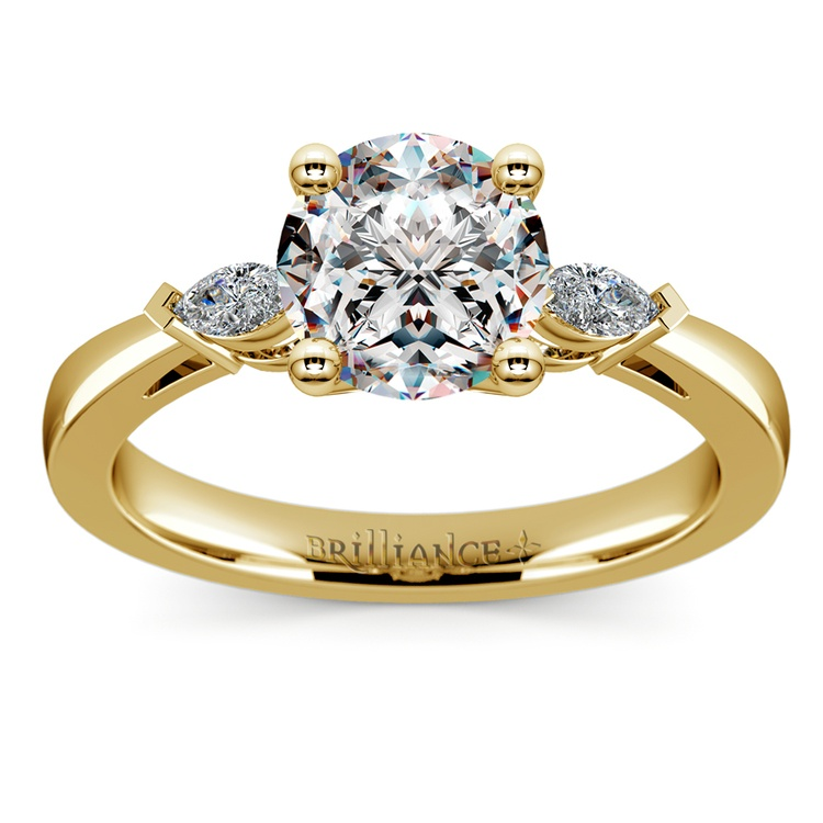 Marquise Diamond Engagement Ring in Yellow Gold (1/4 ctw) | 01