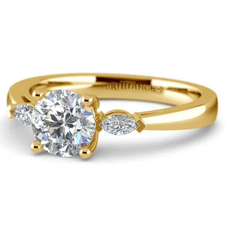 Marquise Diamond Engagement Ring in Yellow Gold (1/4 ctw) | 04