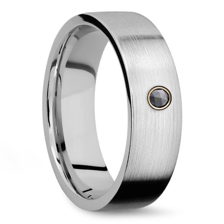 Men's Cobalt Diamond Engagement Ring With Rose Cut Diamond | 02