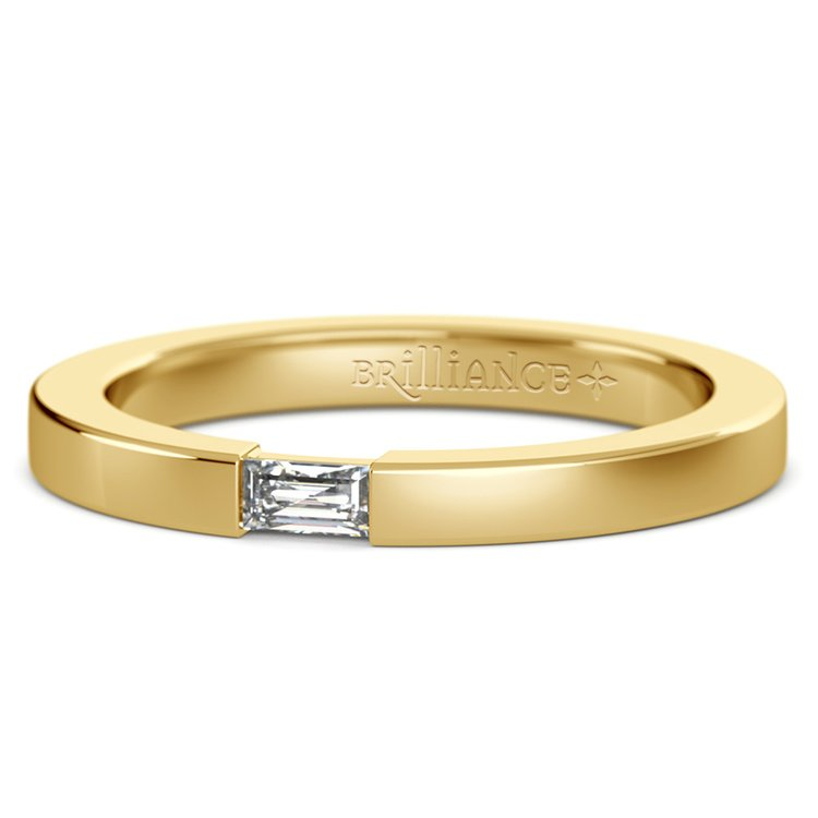 Men's Engagement Ring with Baguette Diamond in Yellow Gold | 01
