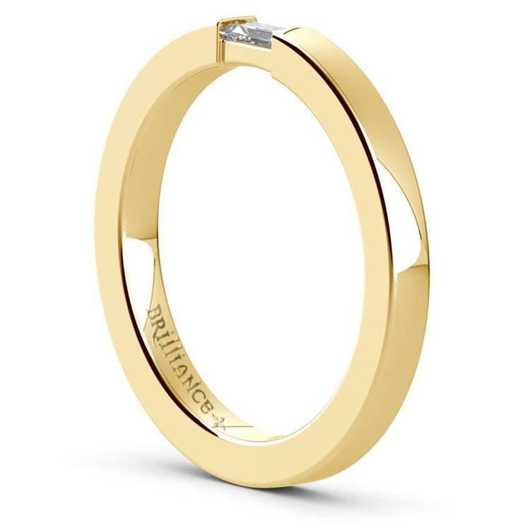 Men's Engagement Ring with Baguette Diamond in Yellow Gold | 04