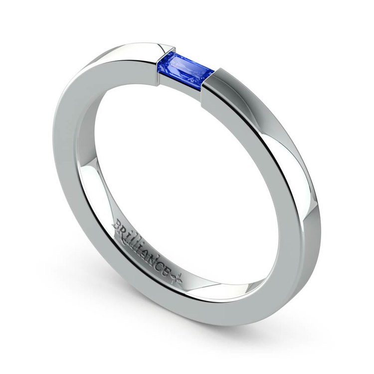 Men's Engagement Ring with Baguette Sapphire | 03