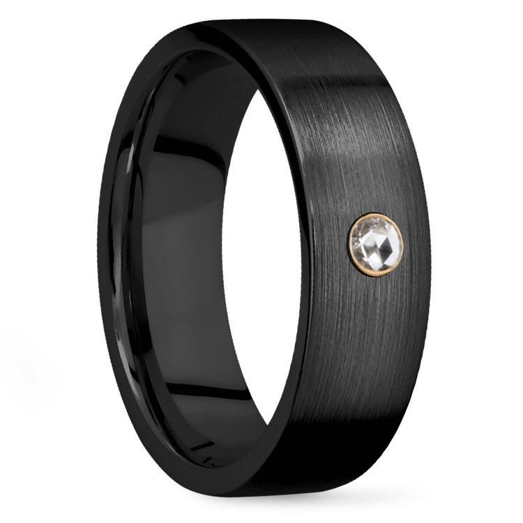 Men's Rose Cut Diamond Engagement Ring Band In Zirconium | 02