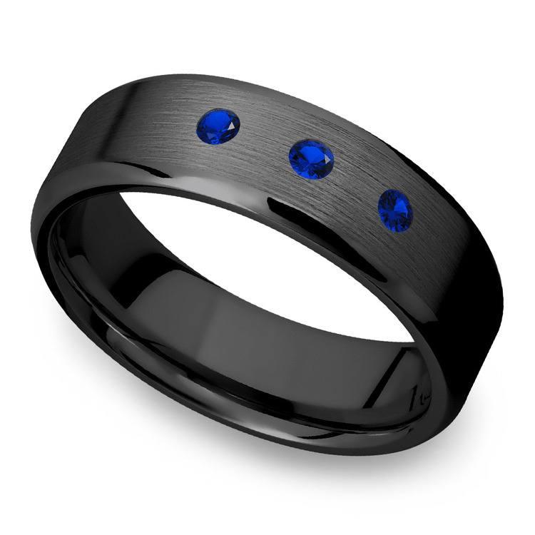Men's Sapphire Black Zirconium Engagement Ring - 7mm Band   02