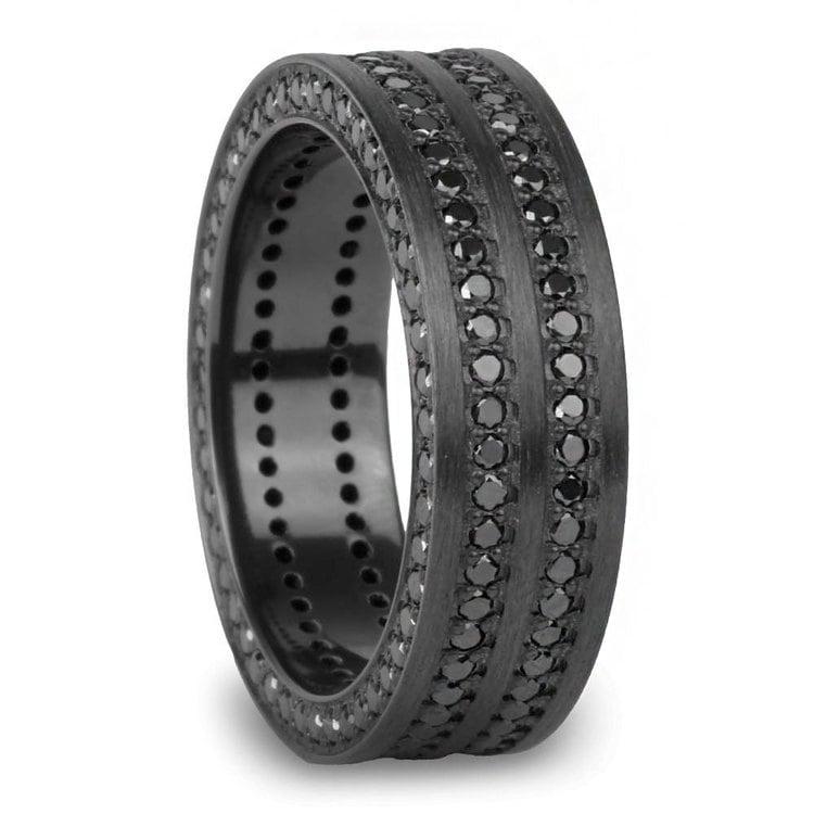 Midnight - Zirconium Black Diamond Mens Engagement Ring | 02