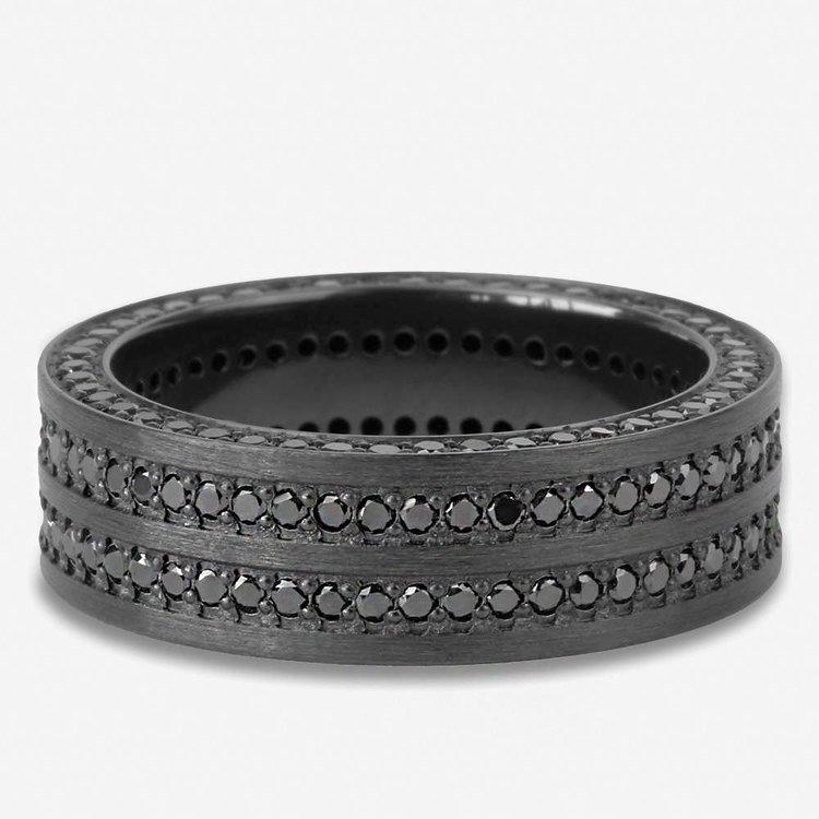 Midnight - Zirconium Black Diamond Mens Engagement Ring | 04