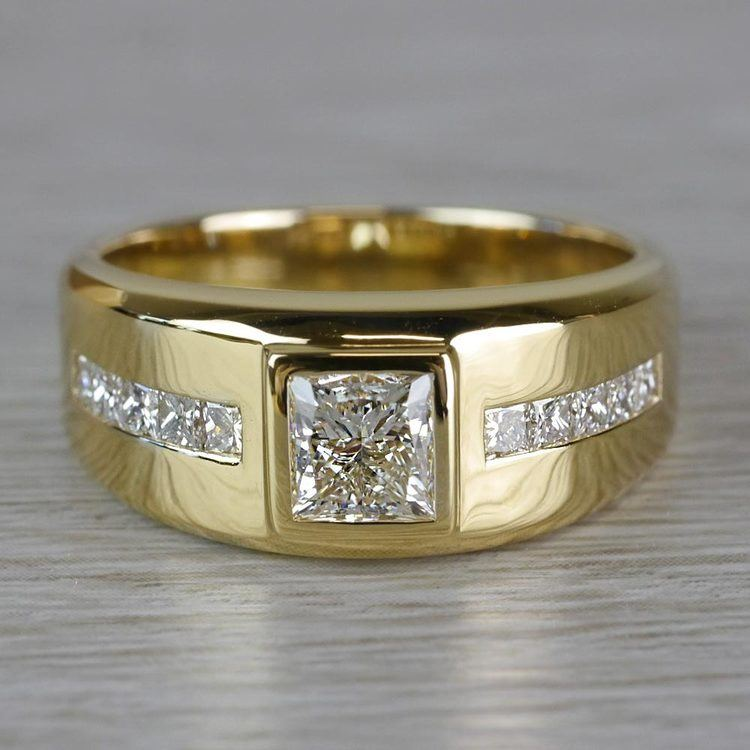 Orion Chunky Gold Channel Set Diamond Mens Engagement Ring | 05