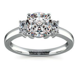 Oval Diamond Engagement Ring in White Gold (1/3 ctw)
