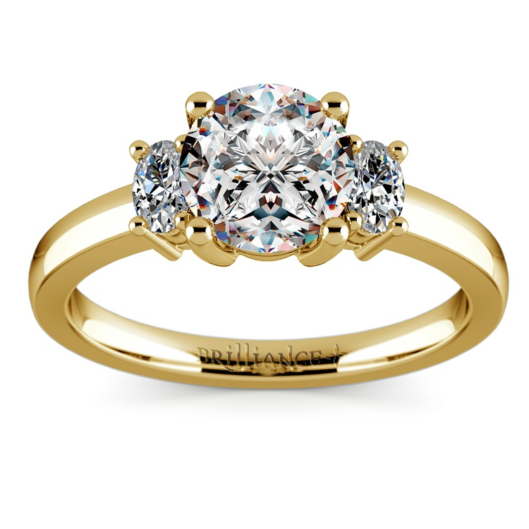 Oval Diamond Engagement Ring in Yellow Gold (1/3 ctw) | 01