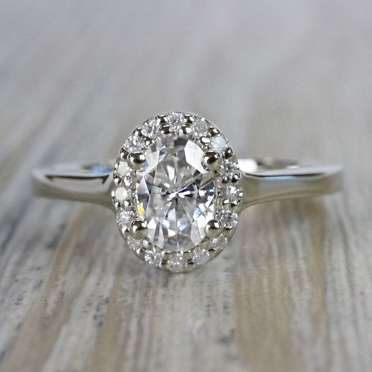 Halo Oval Moissanite Engagement Ring in White Gold (7 mm)   05