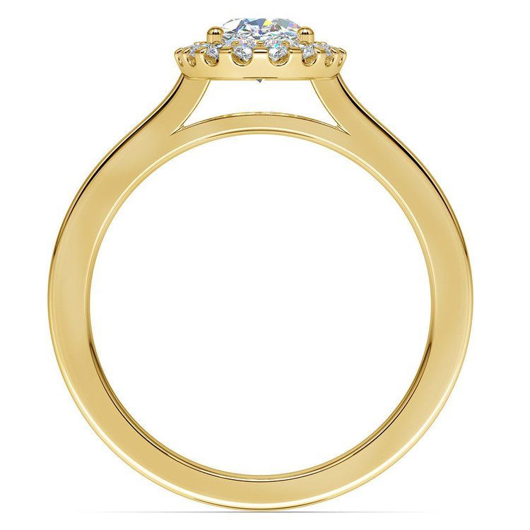 Oval Halo Moissanite Engagement Ring in Yellow Gold (7 mm) | 04
