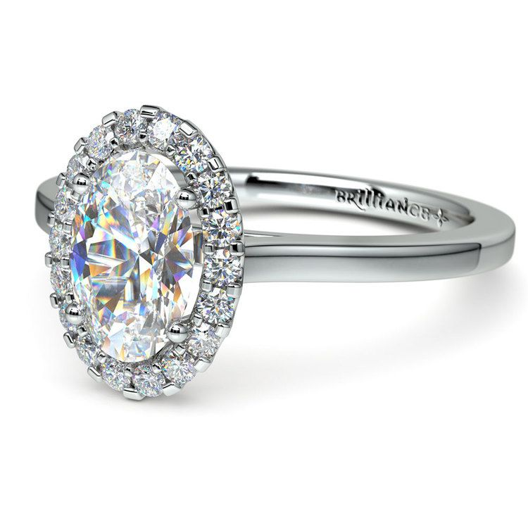 Halo Oval Moissanite Engagement Ring in White Gold (8 mm) | 01