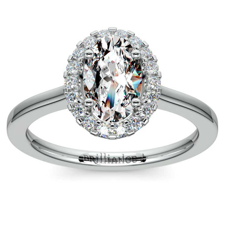 Halo Oval Moissanite Engagement Ring in White Gold (8 mm) | 02
