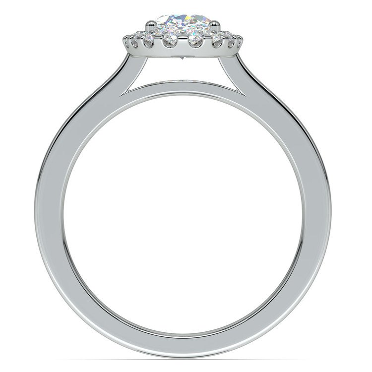 Halo Oval Moissanite Engagement Ring in White Gold (8 mm) | 04
