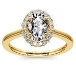 Oval Halo Moissanite Engagement Ring in Yellow Gold (9 mm) | Thumbnail 02