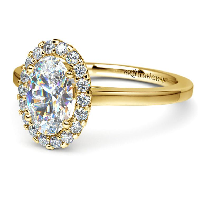 Oval Halo Moissanite Engagement Ring in Yellow Gold (9 mm) | 01