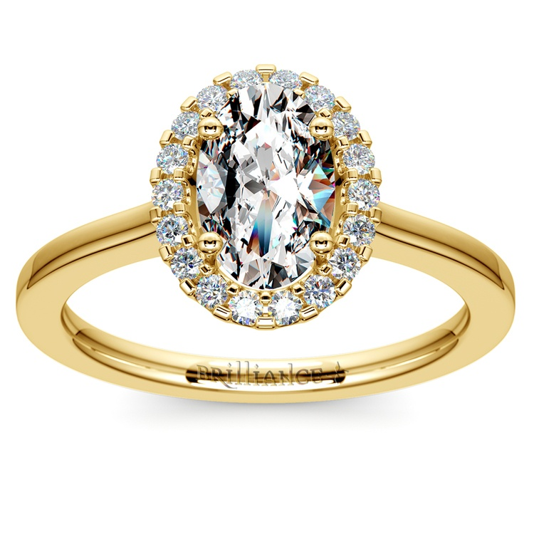 Oval Halo Moissanite Engagement Ring in Yellow Gold (9 mm) | 02