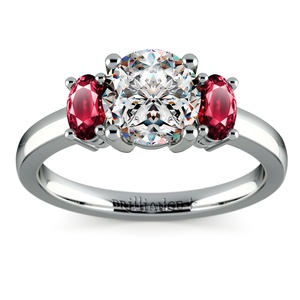 Oval Ruby Gemstone Engagement Ring in Platinum