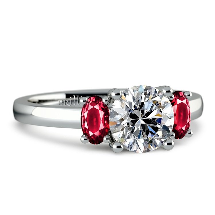Oval Ruby Gemstone Engagement Ring in Platinum | 04