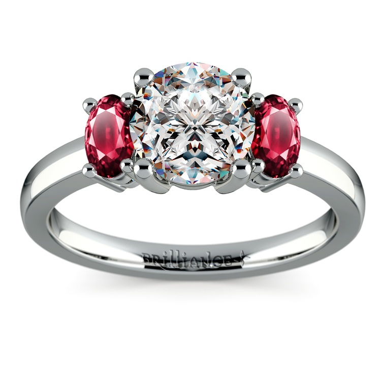 Oval Ruby Gemstone Engagement Ring in White Gold   01