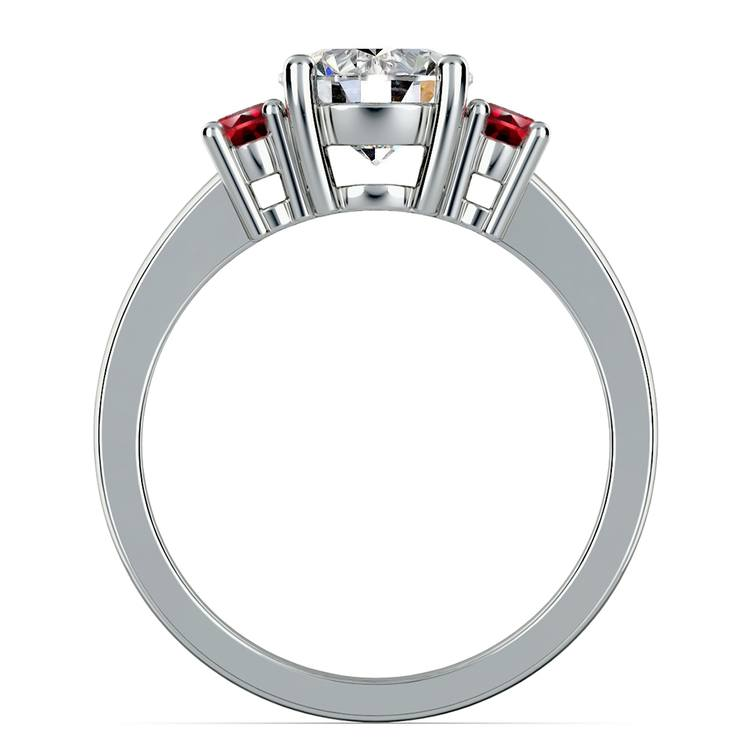 Oval Ruby Gemstone Engagement Ring in White Gold   02
