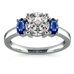 Oval Sapphire Gemstone Engagement Ring in Platinum | Thumbnail 01