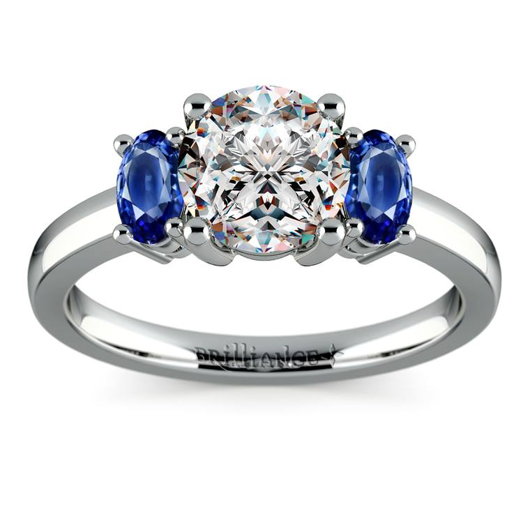Oval Sapphire Gemstone Engagement Ring in White Gold | 01
