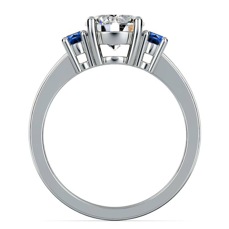 Oval Sapphire Gemstone Engagement Ring in White Gold | 02