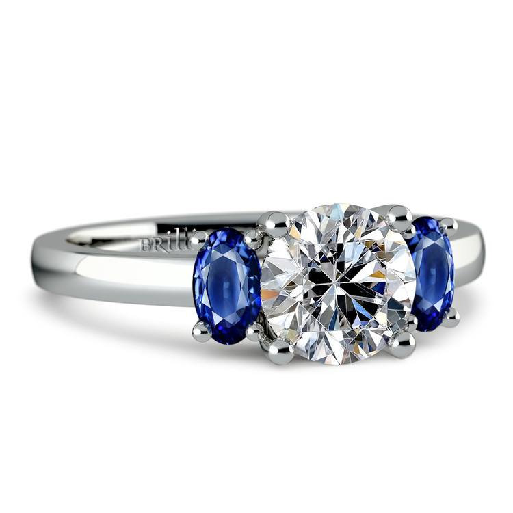 Oval Sapphire Gemstone Engagement Ring in White Gold | 04