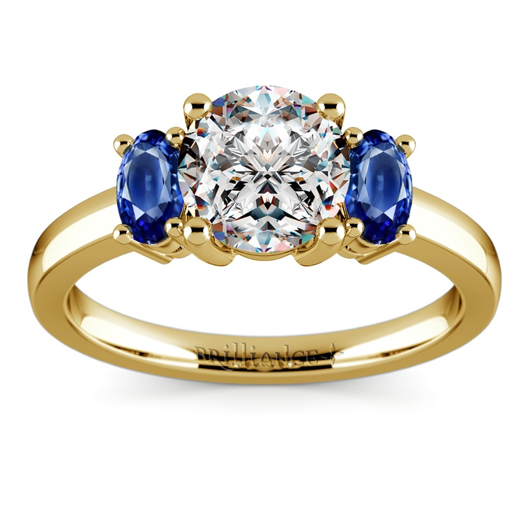 Oval Sapphire Gemstone Engagement Ring in Yellow Gold | 01
