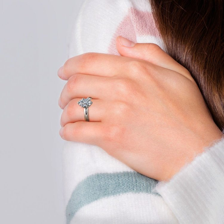 Oval Solitaire Engagement Ring (0.33 Carat Diamond)   06