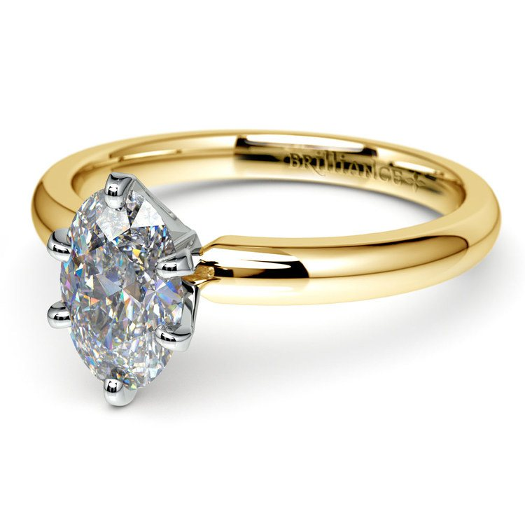 Gold Band Solitaire with Oval Diamond (0.75 Carat Diamond)   01