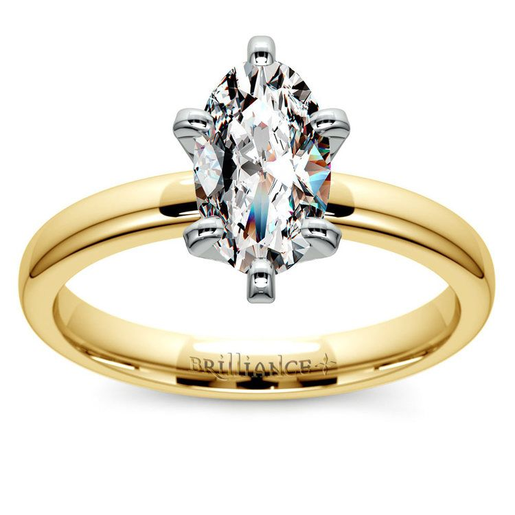 Gold Band Solitaire with Oval Diamond (0.75 Carat Diamond)   02