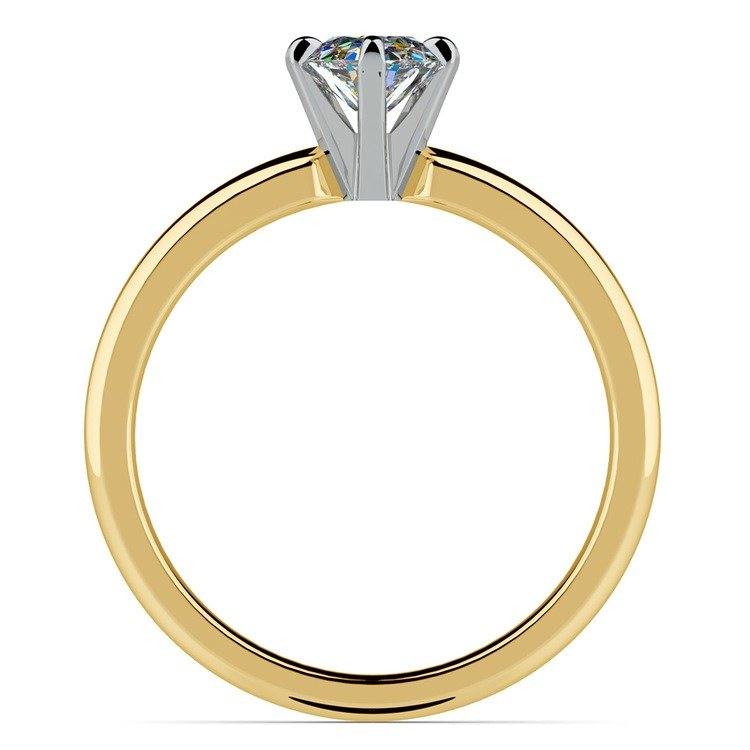 Gold Band Solitaire with Oval Diamond (0.75 Carat Diamond)   04