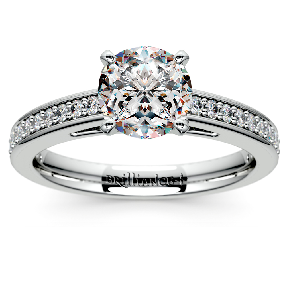 Pave Cathedral Diamond Engagement Ring In Palladium (1/4 Ctw