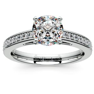 Pave Cathedral Diamond Engagement Ring in Platinum (1/4 ctw)