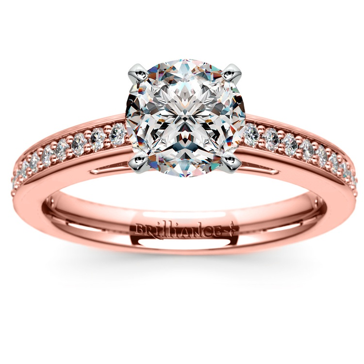 Pave Cathedral Diamond Engagement Ring in Rose Gold (1/4 ctw) | 01