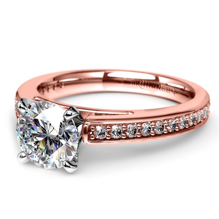 Pave Cathedral Diamond Engagement Ring in Rose Gold (1/4 ctw) | 04