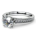 Pave Cathedral Diamond Engagement Ring in White Gold (1/4 ctw) | Thumbnail 04