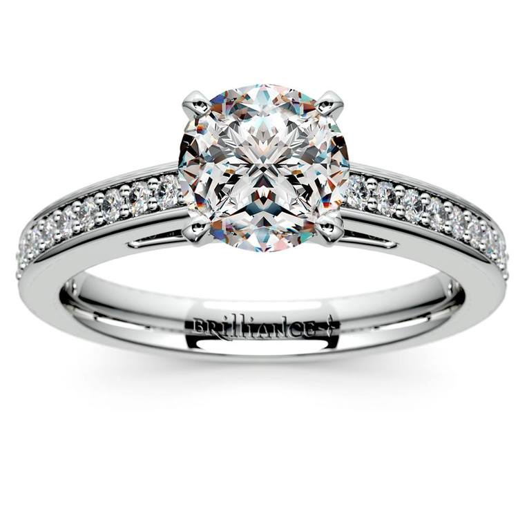 Pave Cathedral Diamond Engagement Ring in White Gold (1/4 ctw) | 01