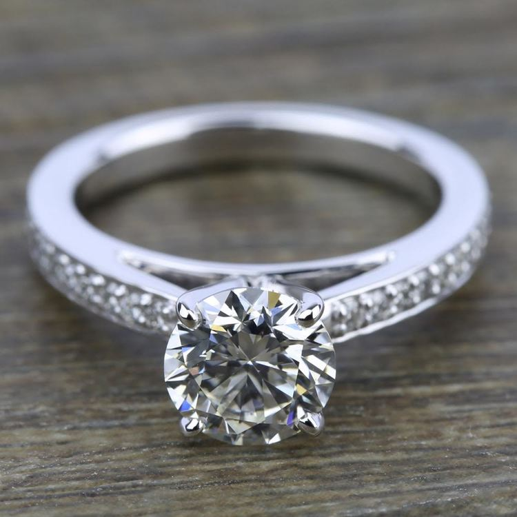 Pave Cathedral Diamond Engagement Ring in White Gold (1/4 ctw) | 05