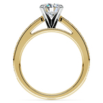 Pave Cathedral Diamond Engagement Ring in Yellow Gold (1/4 ctw) | Thumbnail 02