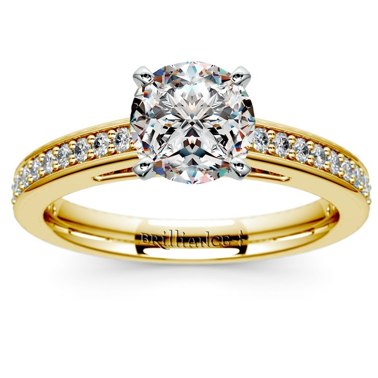 Pave Cathedral Diamond Engagement Ring in Yellow Gold (1/4 ctw) | 01