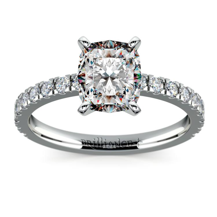 Pave Cushion Moissanite Engagement Ring in White Gold (6 mm) | 02