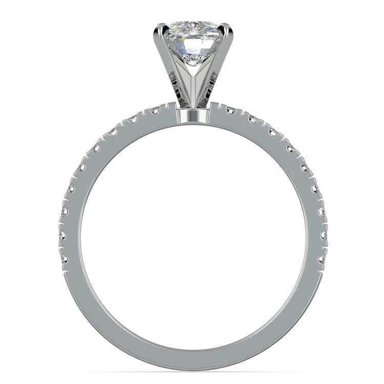 Pave Cushion Moissanite Engagement Ring in White Gold (6 mm) | 04