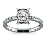 Pave Cushion Moissanite Engagement Ring in White Gold (7 mm) | Thumbnail 02