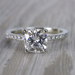 Pave Cushion Moissanite Engagement Ring in White Gold (7 mm) | Thumbnail 05