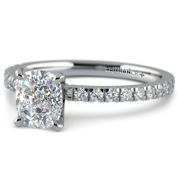 Pave Cushion Moissanite Engagement Ring in White Gold (7 mm)   01