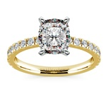 Pave Cushion Moissanite Engagement Ring in Yellow Gold (7 mm) | Thumbnail 02